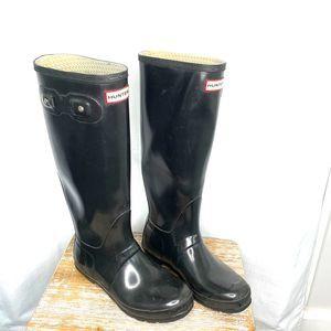 Hunter Glossy Tall Original Rain Boot Black